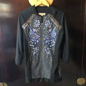 Anhha embroidered long bomber jacket
